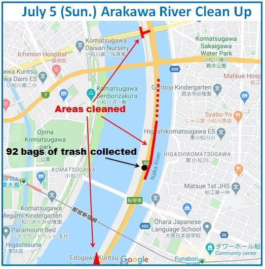 Arakawa River Clean Up  (Funabori) July 5, 2020