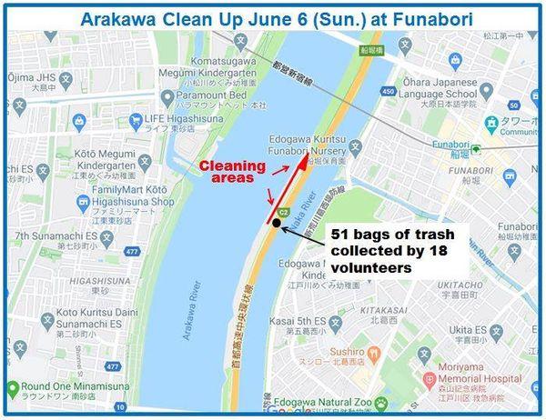 Arakawa River Clean Up June 6, 2021