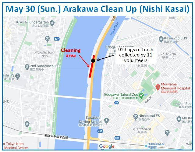 Arakawa River Clean Up May 30, 2021