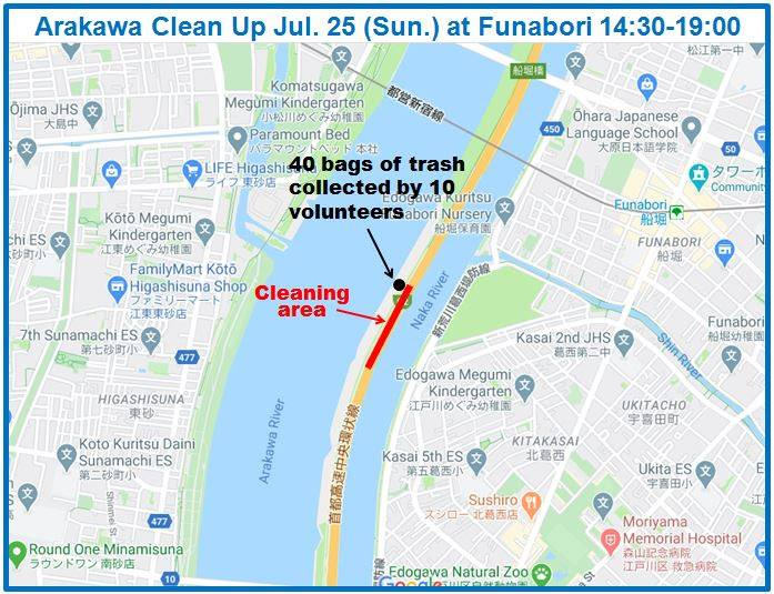 Arakawa River Clean Up July 25, 2021