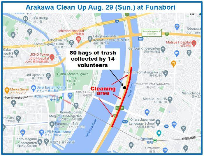 Arakawa River Clean up August 29, 2021